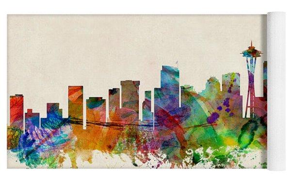 Seattle Washington Skyline Yoga Mat by Michael Tompsett