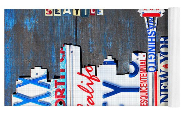 Seattle Washington Space Needle Skyline License Plate Art By Design Turnpike Yoga Mat by Design Turnpike