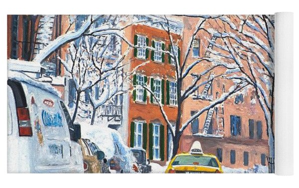Snow West Village New York City Yoga Mat by Anthony Butera