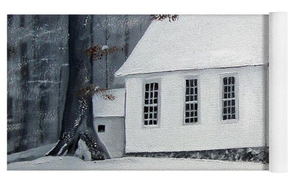 Snowy Gates Chapel  -little White Church - Ellijay Yoga Mat by Jan Dappen