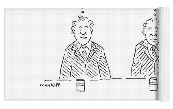 Three Men Sit At A Bar With Drinks. The First Yoga Mat by Robert Mankoff