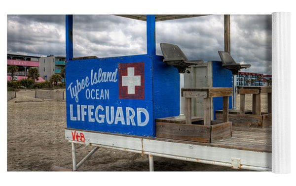 Tybee Island Lifeguard Stand Yoga Mat by Peter Tellone