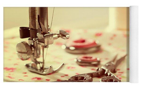 Vintage Sewing Items Yoga Mat by Amanda Elwell