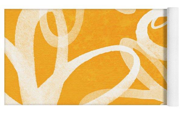 Waterflowers- Orange And White Yoga Mat