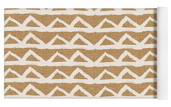 White Triangles On Burlap Yoga Mat by Linda Woods