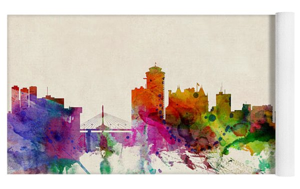 Winnipeg Skyline Canada Yoga Mat by Michael Tompsett