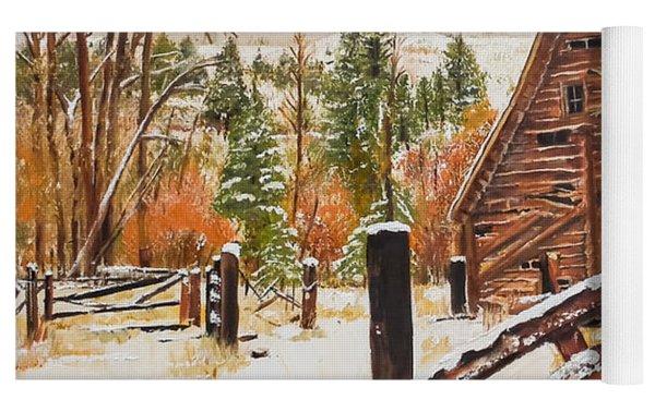 Winter - Barn - Snow In Nevada Yoga Mat by Jan Dappen