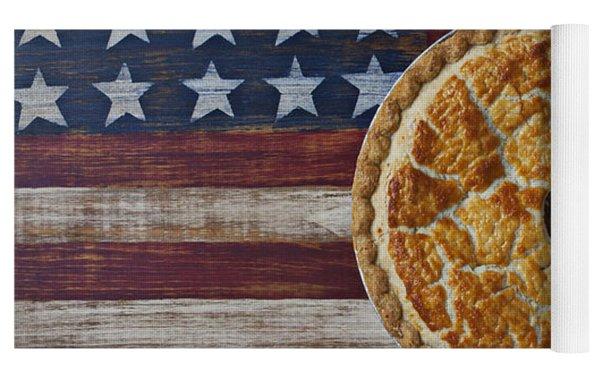 Apple Pie On Folk Art  American Flag Yoga Mat