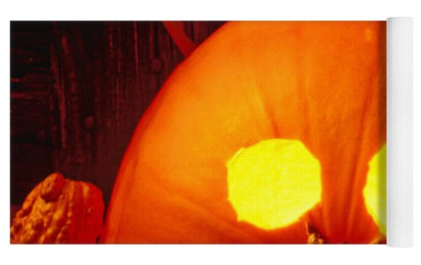 Carved Pumpkin With Fall Leaves Yoga Mat by Garry Gay