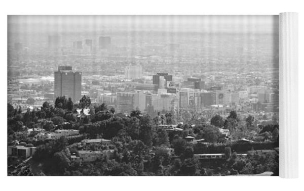 Hollywood From Above Yoga Mat by Ricky Barnard