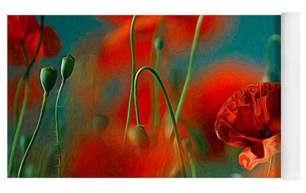 Red Poppy Flowers 05 Yoga Mat by Nailia Schwarz