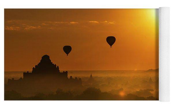 Holy Temple And Hot Air Balloons At Sunrise Yoga Mat by Pradeep Raja PRINTS
