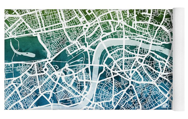 London England Street Map Yoga Mat by Michael Tompsett