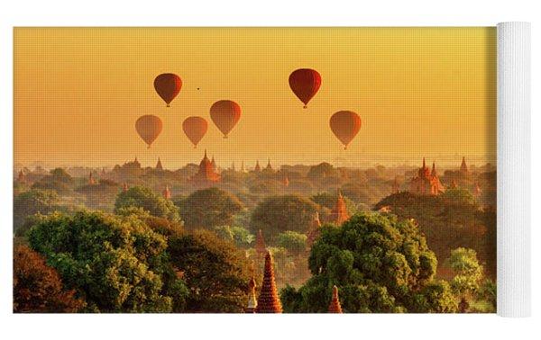 Bagan Pagodas And Hot Air Balloon Yoga Mat by Pradeep Raja PRINTS