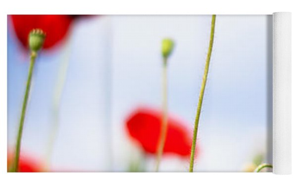 Corn Poppy Flowers Yoga Mat by Nailia Schwarz