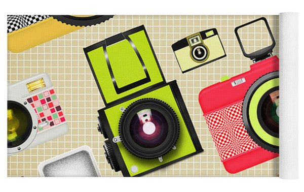 Retro Camera Pattern Yoga Mat by Setsiri Silapasuwanchai