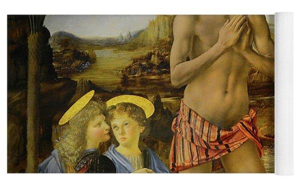 The Baptism Of Christ Yoga Mat by Leonardo Da Vinci
