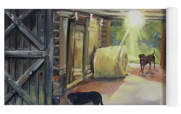 After Hours In Pa's Barn - Barn Lights - Labs Yoga Mat by Jan Dappen