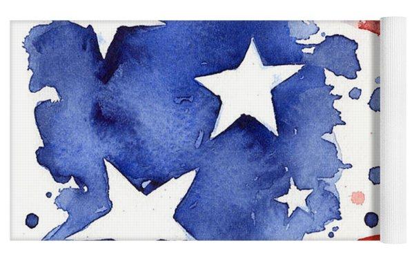 American Flag Watercolor Painting Yoga Mat