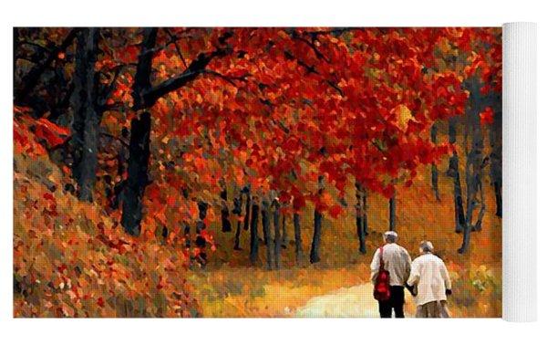 An Autumn Walk Yoga Mat by David Dehner