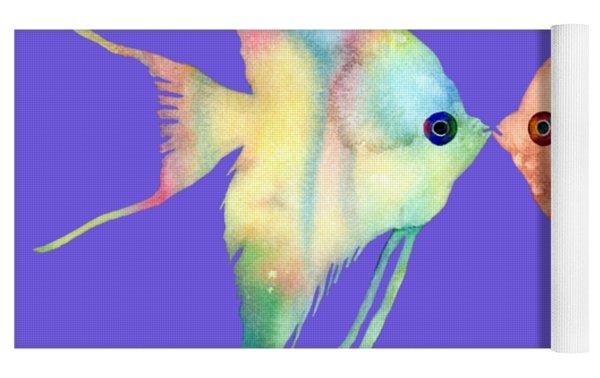 Angelfish Kissing Yoga Mat by Hailey E Herrera