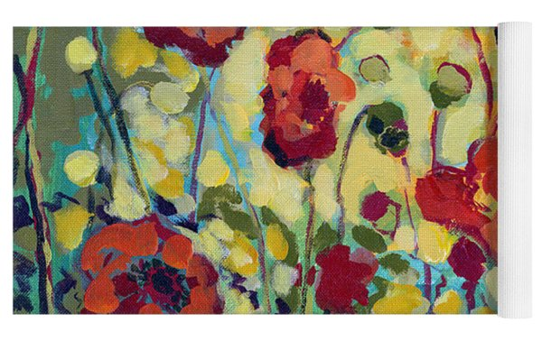 Anitas Poppies Yoga Mat by Jennifer Lommers