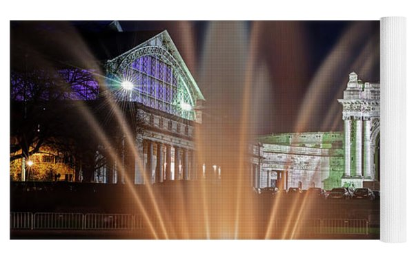 Arcade Du Cinquantenaire Fountain At Night - Brussels Yoga Mat by Barry O Carroll