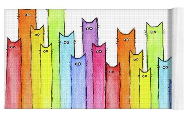 Cat Rainbow Watercolor Pattern Yoga Mat by Olga Shvartsur