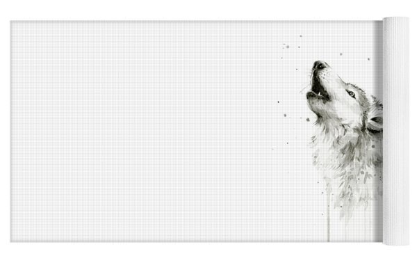 Howling Wolf Watercolor Yoga Mat