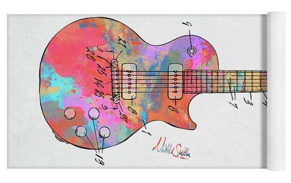Colorful 1955 Mccarty Gibson Les Paul Guitar Patent Artwork Mini Yoga Mat by Nikki Marie Smith
