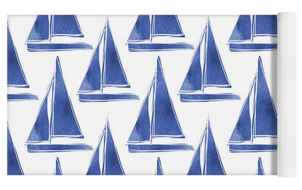 Blue And White Sailboats Pattern- Art By Linda Woods Yoga Mat