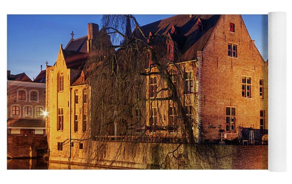 Bruges Architecture At Blue Hour Yoga Mat by Barry O Carroll