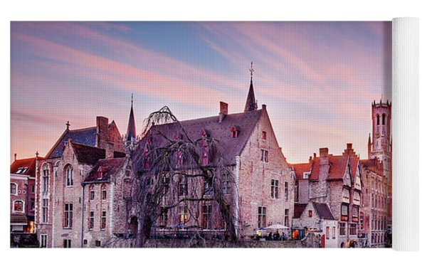 Bruges Sunset Yoga Mat by Barry O Carroll
