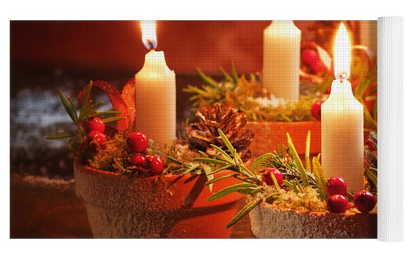 Candles In Terracotta Pots Yoga Mat