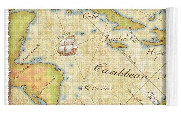 Caribbean Map - Good Yoga Mat