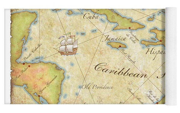 Caribbean Map II Yoga Mat