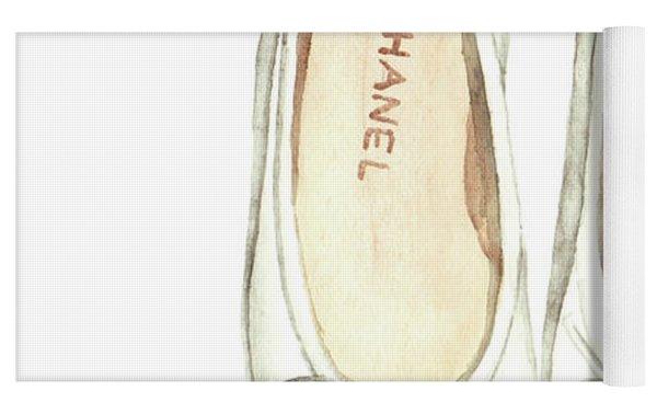 Chanel Ballet Flats Classic Watercolor Fashion Illustration Coco Quotes Vintage Paris Black White Yoga Mat by Laura Row