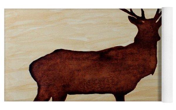 Coffee Painting Deer Love Yoga Mat
