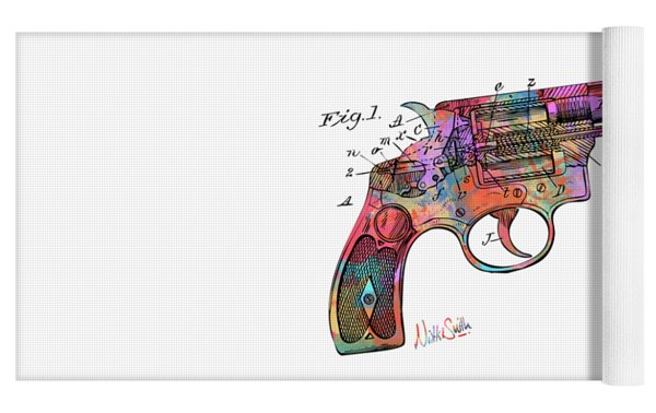 Colorful 1896 Wesson Revolver Patent Yoga Mat by Nikki Marie Smith