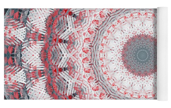 Concrete And Red Mandala- Abstract Art By Linda Woods Yoga Mat by Linda Woods