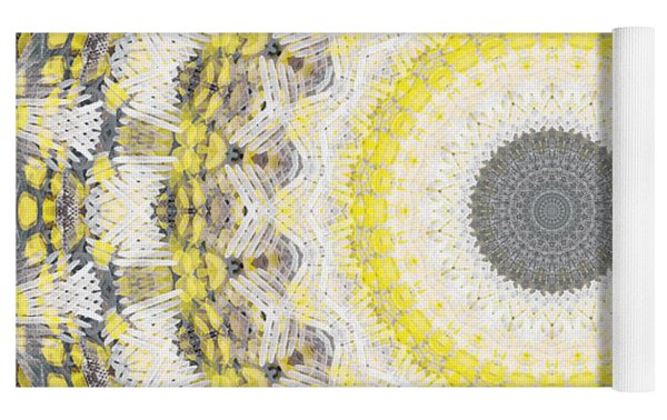Concrete And Yellow Mandala- Abstract Art By Linda Woods Yoga Mat by Linda Woods