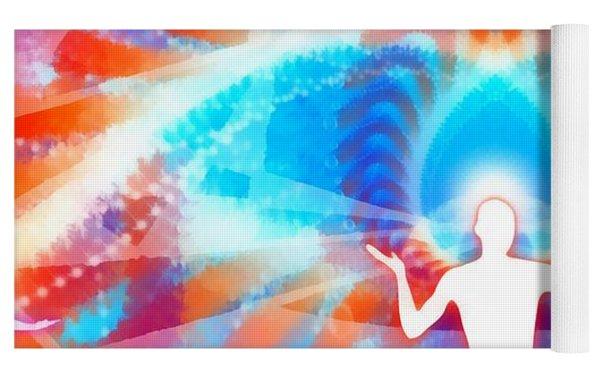 Cosmic Spiral 77 Painted Yoga Mat by Derek Gedney