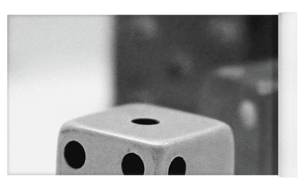 Dice 1- Black And White Photo By Linda Woods Yoga Mat by Linda Woods