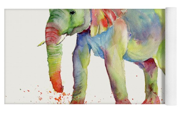 Elephant Family Watercolor  Yoga Mat by Melly Terpening