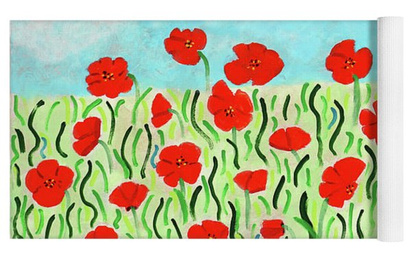 Everythings Popping Up Poppies Yoga Mat by Deborah Boyd