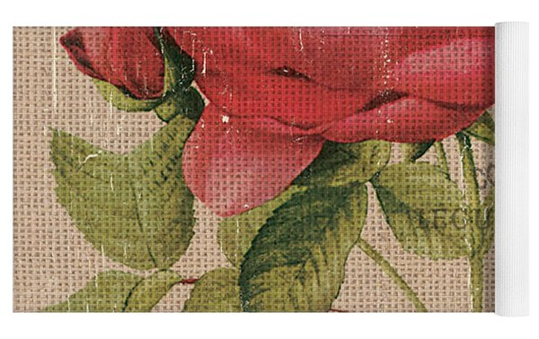 French Burlap Floral 1 Yoga Mat by Debbie DeWitt