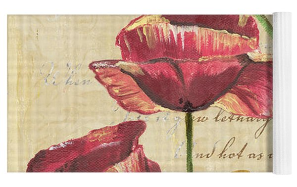 French Pink Poppies Yoga Mat by Debbie DeWitt