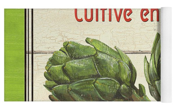 French Vegetable Sign 2 Yoga Mat by Debbie DeWitt