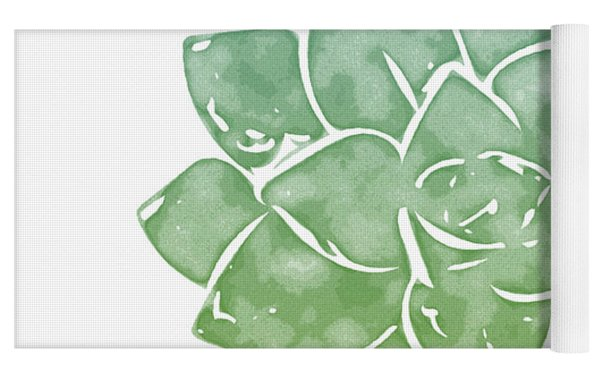Green Succulent 1- Art By Linda Woods Yoga Mat by Linda Woods
