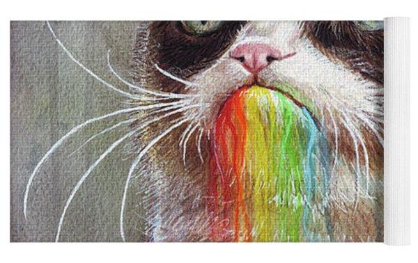 Grumpy Cat Tastes The Rainbow Yoga Mat